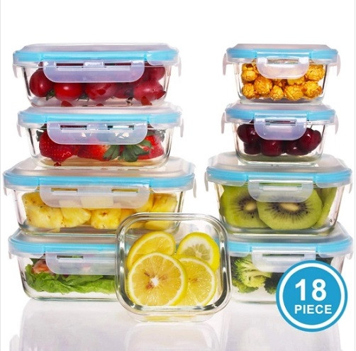 18 Piece Glass Food Storage Containers With Lids