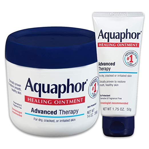 Aquaphor Healing Ointment Multipack - Moisturizing Skin Protectant For Dry Cracked Hands, Heels and Elbows - 14 oz. jar + 1.75 oz. tube