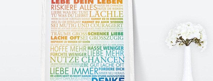 Kunstdruck, Print - Lebe Dein Leben bunt