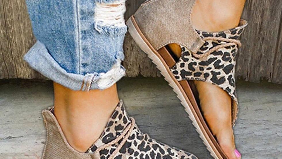 Vintage Sandals Leopard Print Summer Shoes
