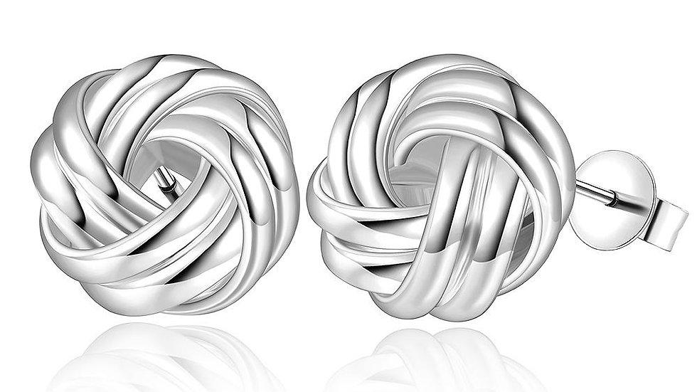 Twist Stud Earring in 18K White Gold Plated