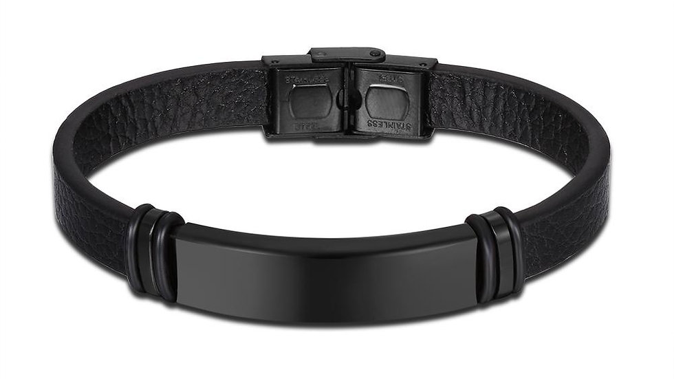 Mens Leather Steel Bracelet