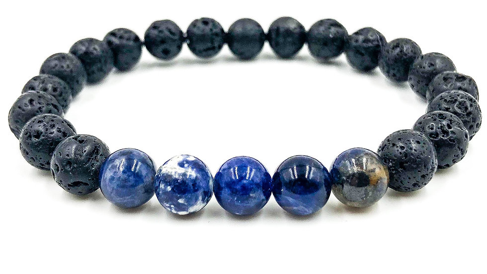 Blue Sodalite & Lava Rock Bracelet
