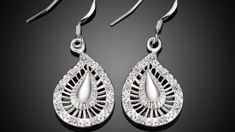 Bohemian Drop Earring in 18K White Gold Plated