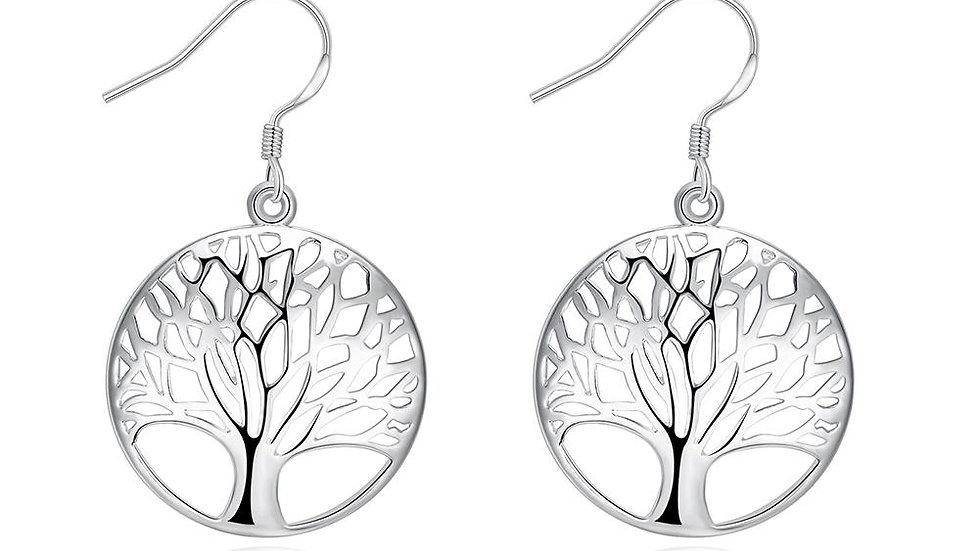 Tree of Life Drop Stud Earring in 18K White Gold Plated