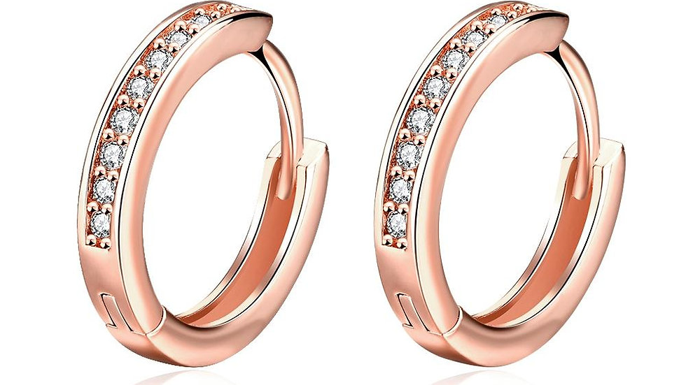 "0.66"" Huggie Earring in 18K Rose Gold Plated with Swarovski Crystals"