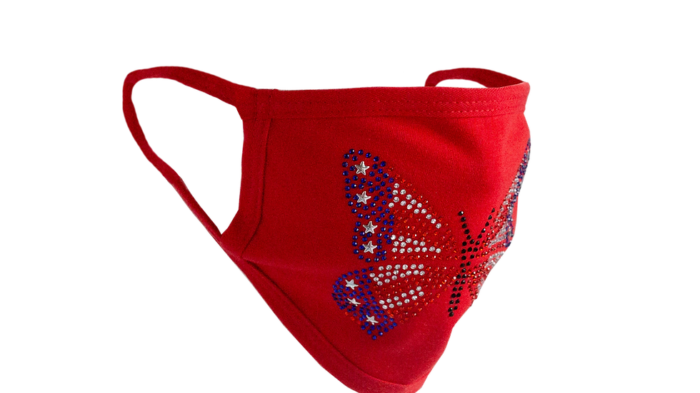 Stones and Studs 'Butterfly' Rhinestone Face Mask (Red)