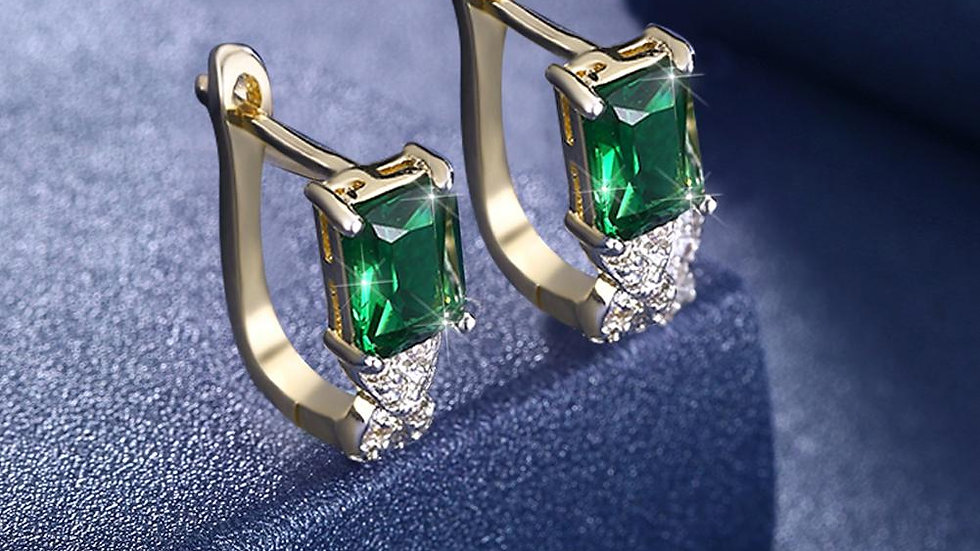 Emerald Baugette Cut Leverback in 18K Gold Plated with Swarovski