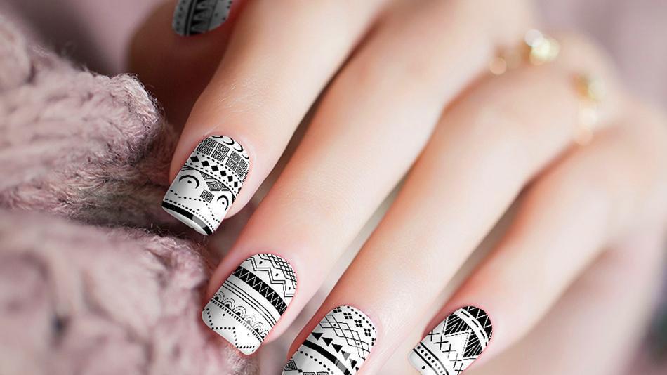 Black White Geometric Nail Stickers