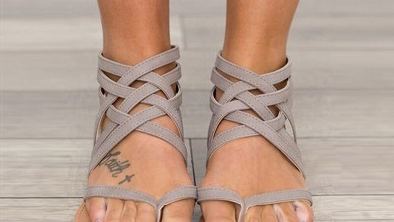 Gladiator  Flat Sandals Rome Style Cross