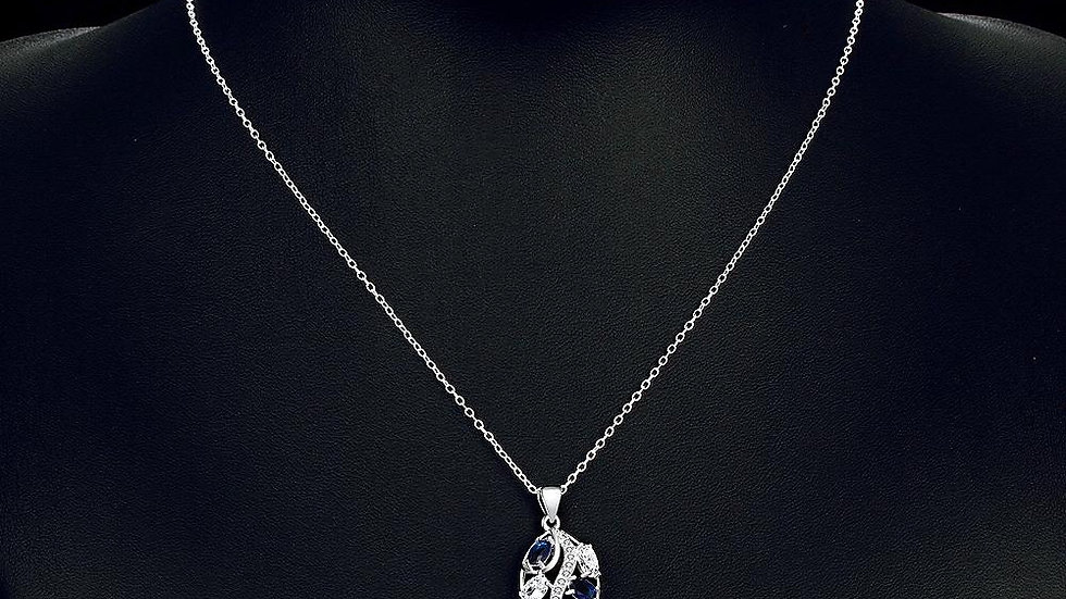 Boulogne-sur-Mer Necklace in 18K White Gold Plated made with Swarovski