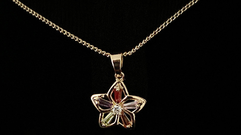 Flower Pendant Necklace with Earrings