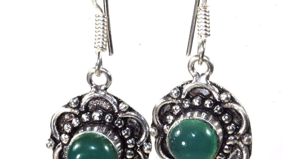 Mystic Green Glass & Flower Earrings