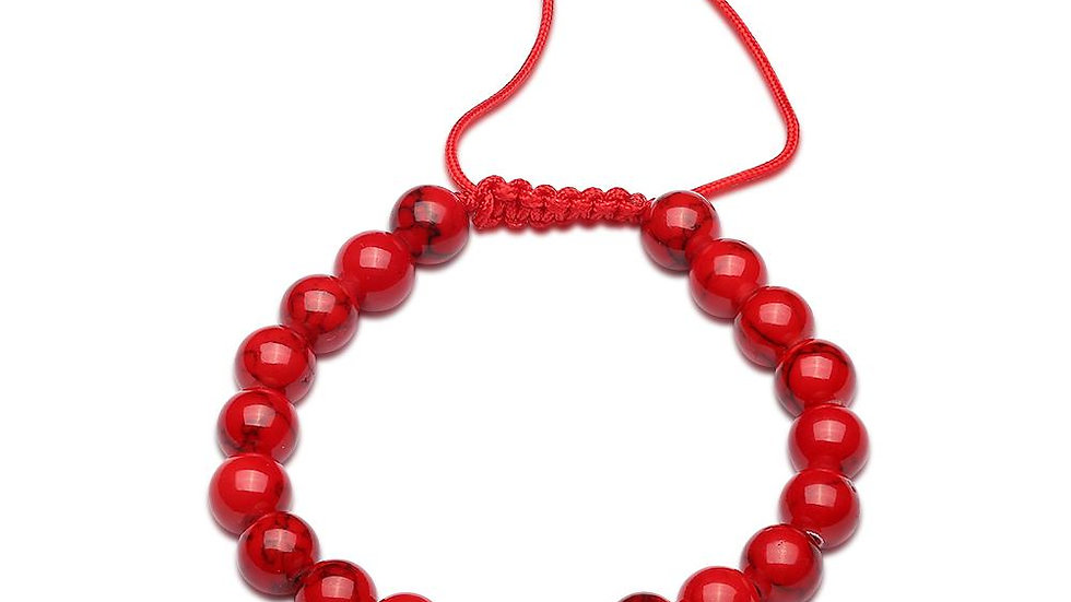 Red Natural Stone Stretch Bracelet