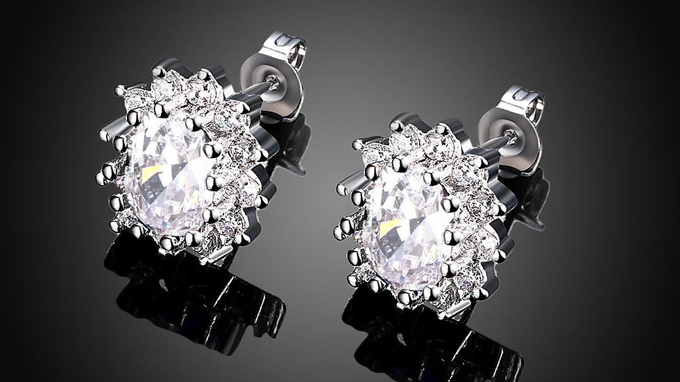 White Topaz Kate Middleton Inspired Stud Earring in 18K White Gold