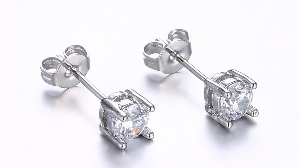 Classic 6mm Diamond Stud Earring in 18K White Gold Plated with