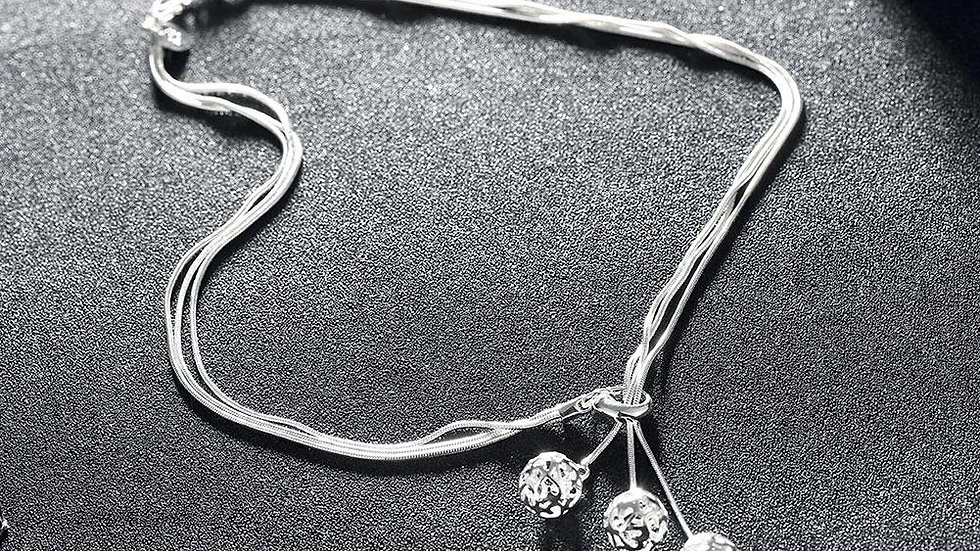 Laser Cut Triple Ball Necklace in 18K White Gold Plated