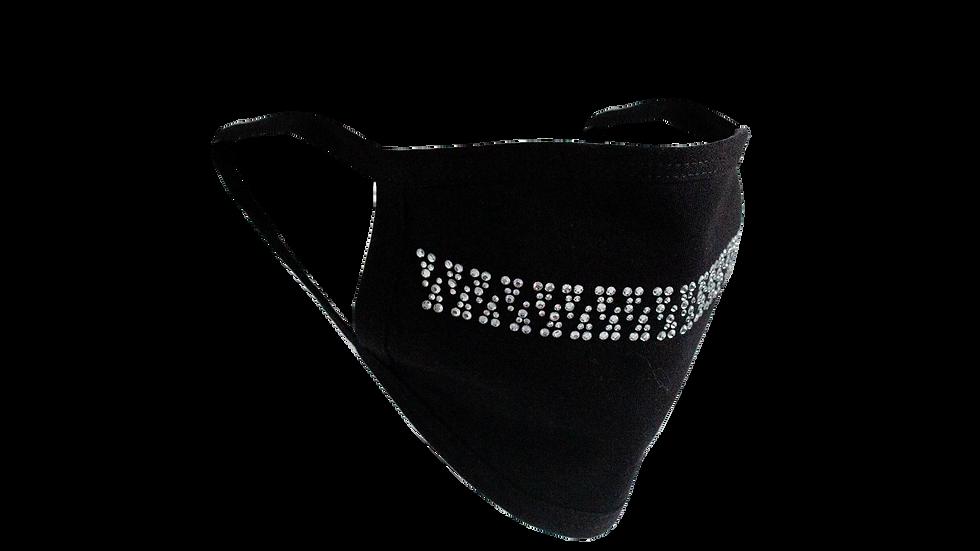 Stones and Studs 'Zipper' Rhinestone Face Mask (Black)