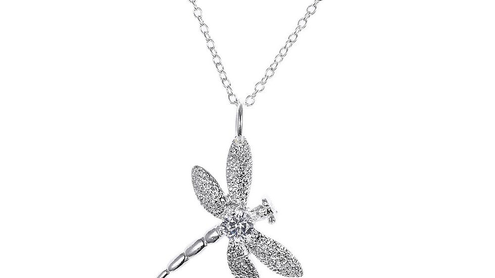 Dragonflly Necklace in 18K White Gold Plated