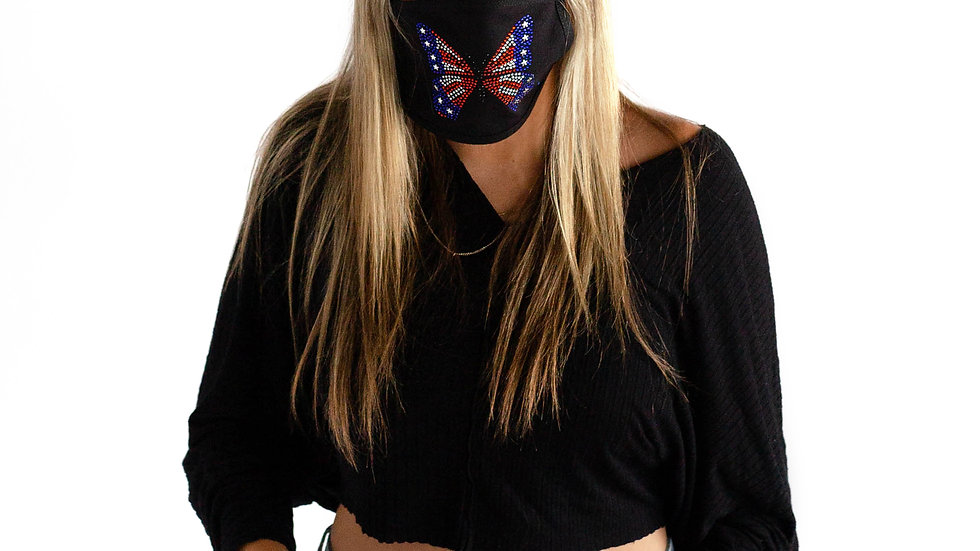 Stones and Studs 'Butterfly' Rhinestone Face Mask (Black)