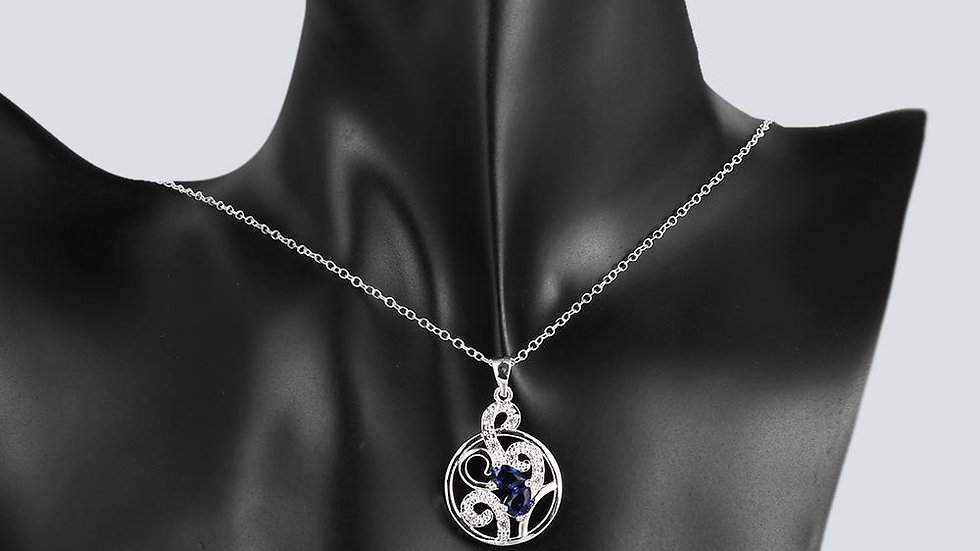 S & G Denain Necklace in 18K White Gold Plated with Swarovski Crystals