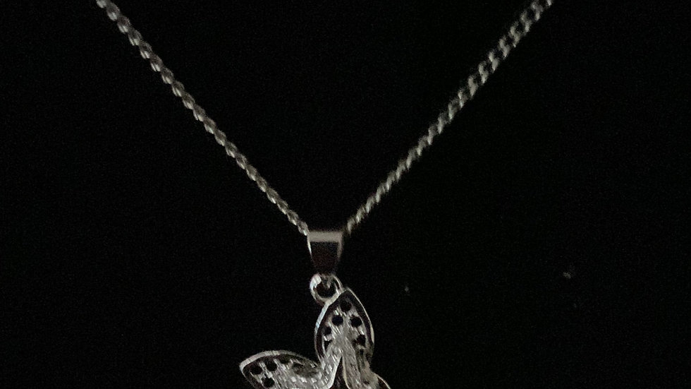 Silver Butterfly Necklace with Earrings