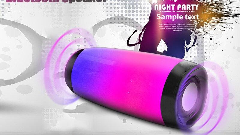 LED Bluetooth Speaker Bluetooth 4.2 HIFI Stereo Bass Subwoofer Colorful LED