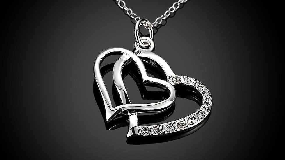 Double Hearts Necklace in 18K White Gold Plated