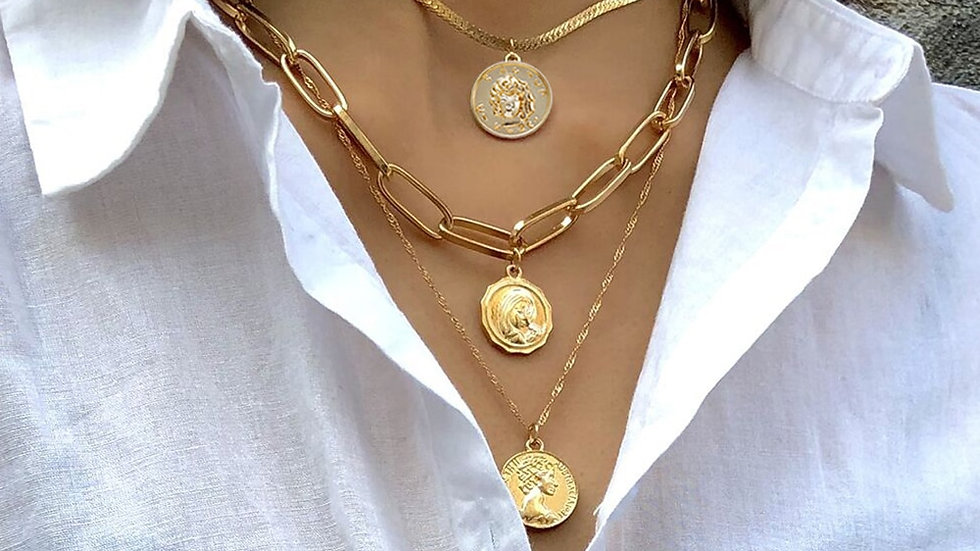 Multi Layer Carved Coin Choker Necklace