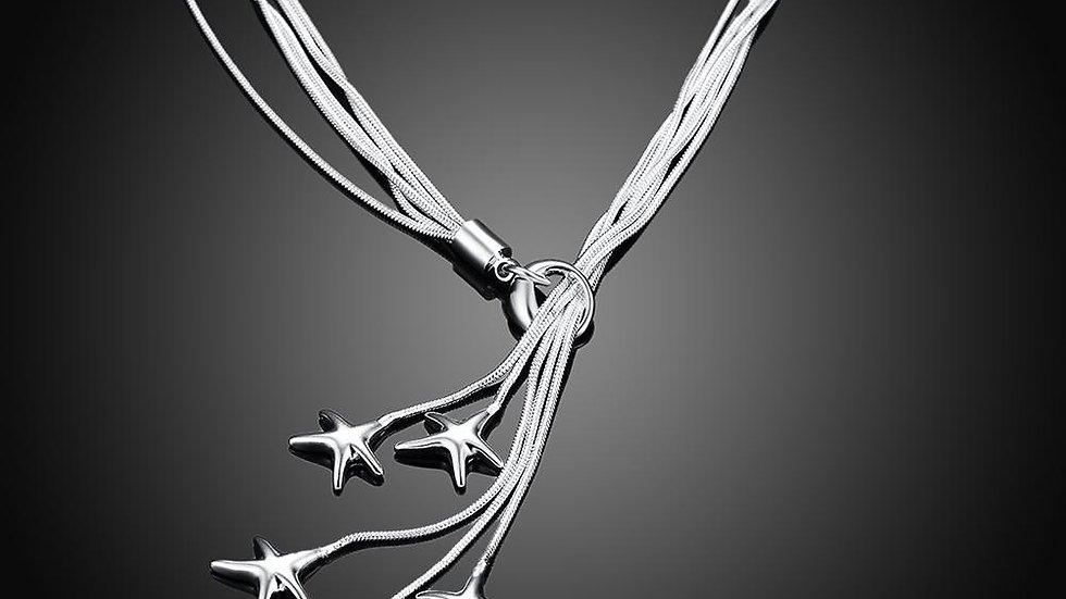 Starfish Drop Necklace in 18K White Gold Plated