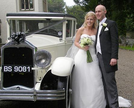 Bride, Groom & Car.