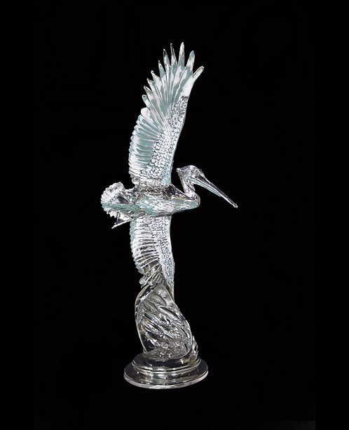 Skimming the Waves, Life-Size Stainless Steel Pelican