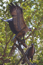 This Bronze Sculpture is titled Osprey Pair by Artist Geoffrey C. Smith, located in Stuart, Florida.