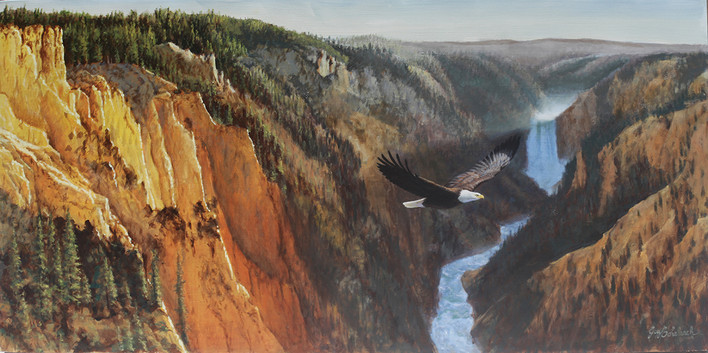 Yellowstone Canyon American Eagle by Guy Coheleach