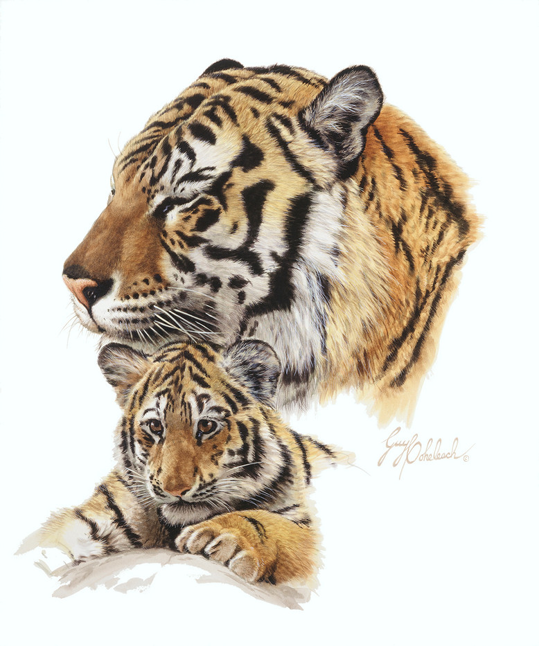 Bengal Tiger and Cub by Guy Coheleach