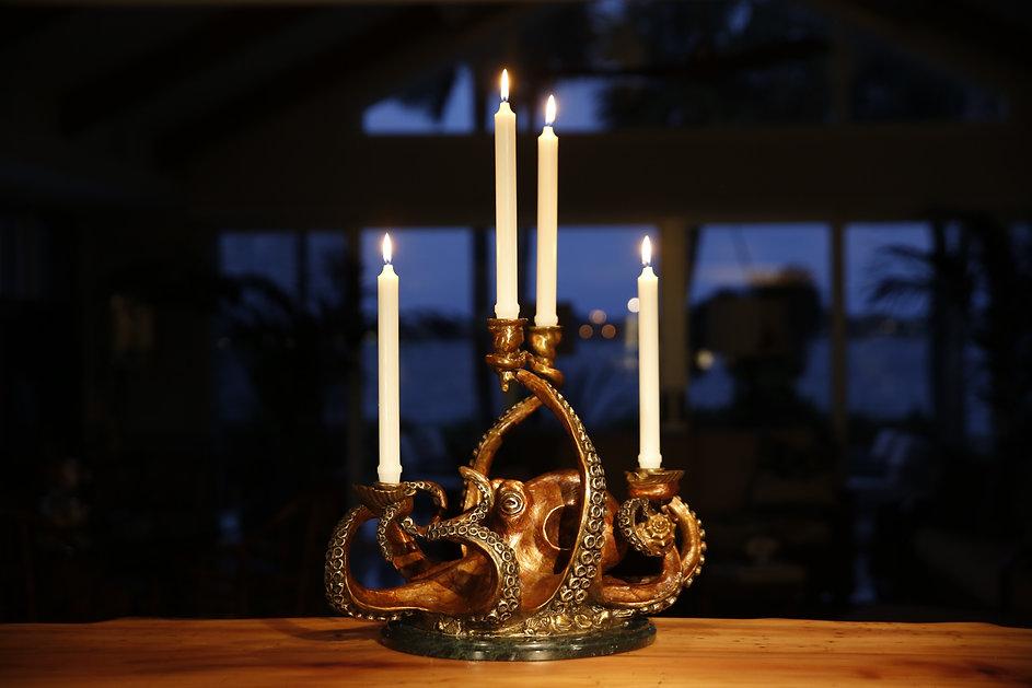 Bronze octopus candelabra sculpture by artist Geoffrey C Smith.