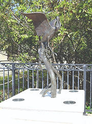 The Roseate Spoonbill, a life-size bronze sculpture by Artist Geoffrey C. Smith, is located in Stuart, Florida.