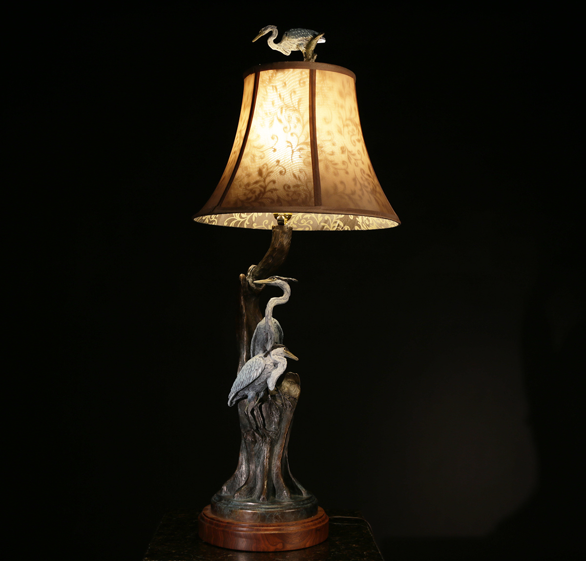 Blue Cypress Heron Lamp