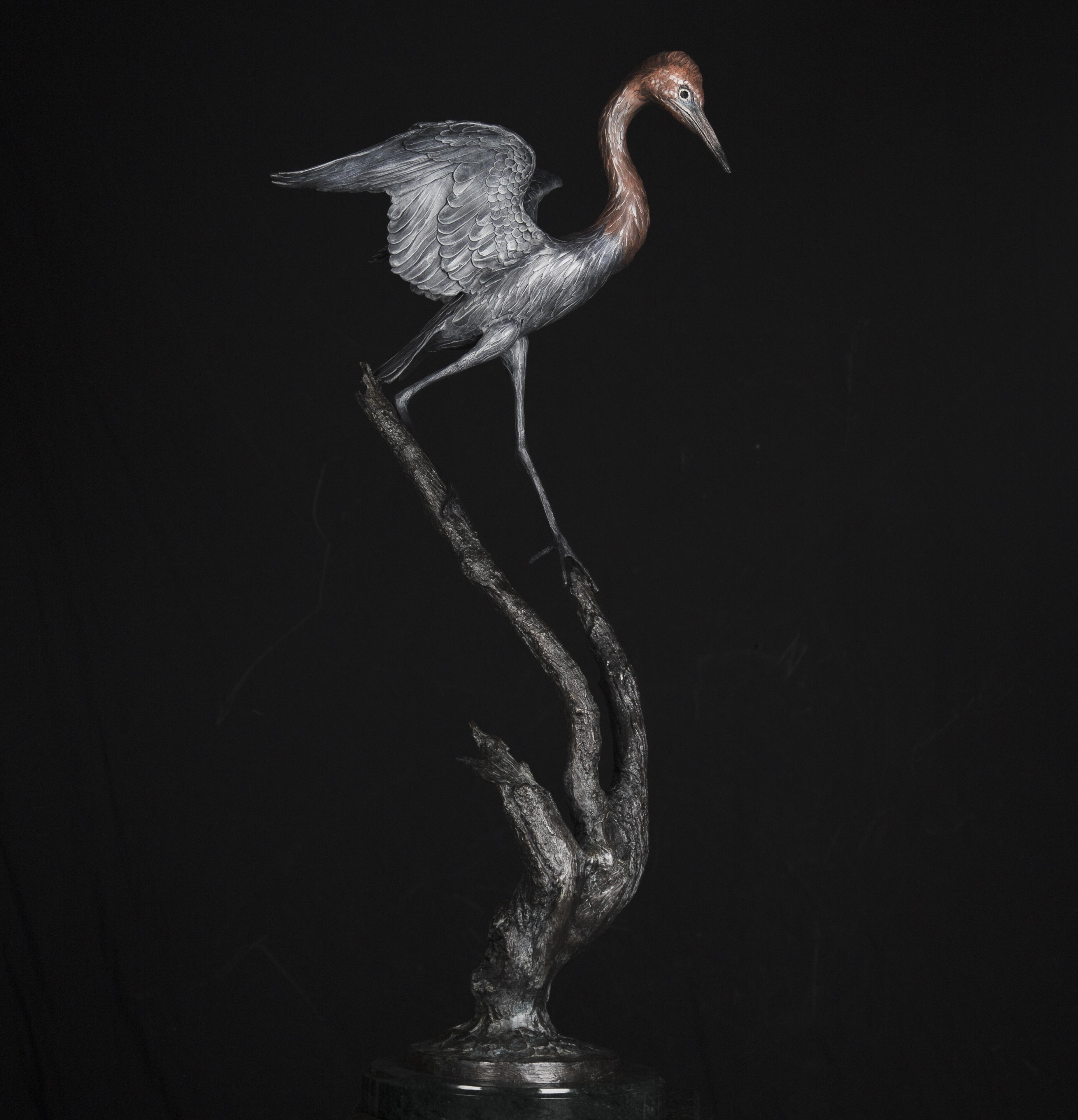 Reddish Egret Bronze Sculpture by Geoffrey C. Smith