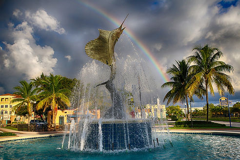 "Bronze monument ""The Stuart Saifish"" sculpture located in Stuart, FL by Artist Geoffrey C Smith."