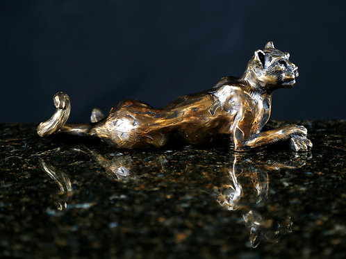 Panther Relaxed Bronze Sculpture