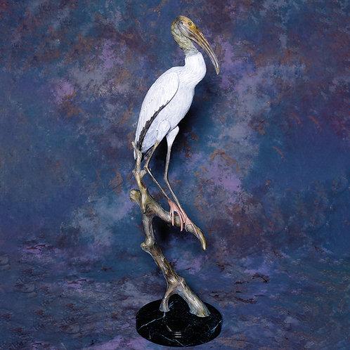 Wood Stork, Life-Sized Colored Patina
