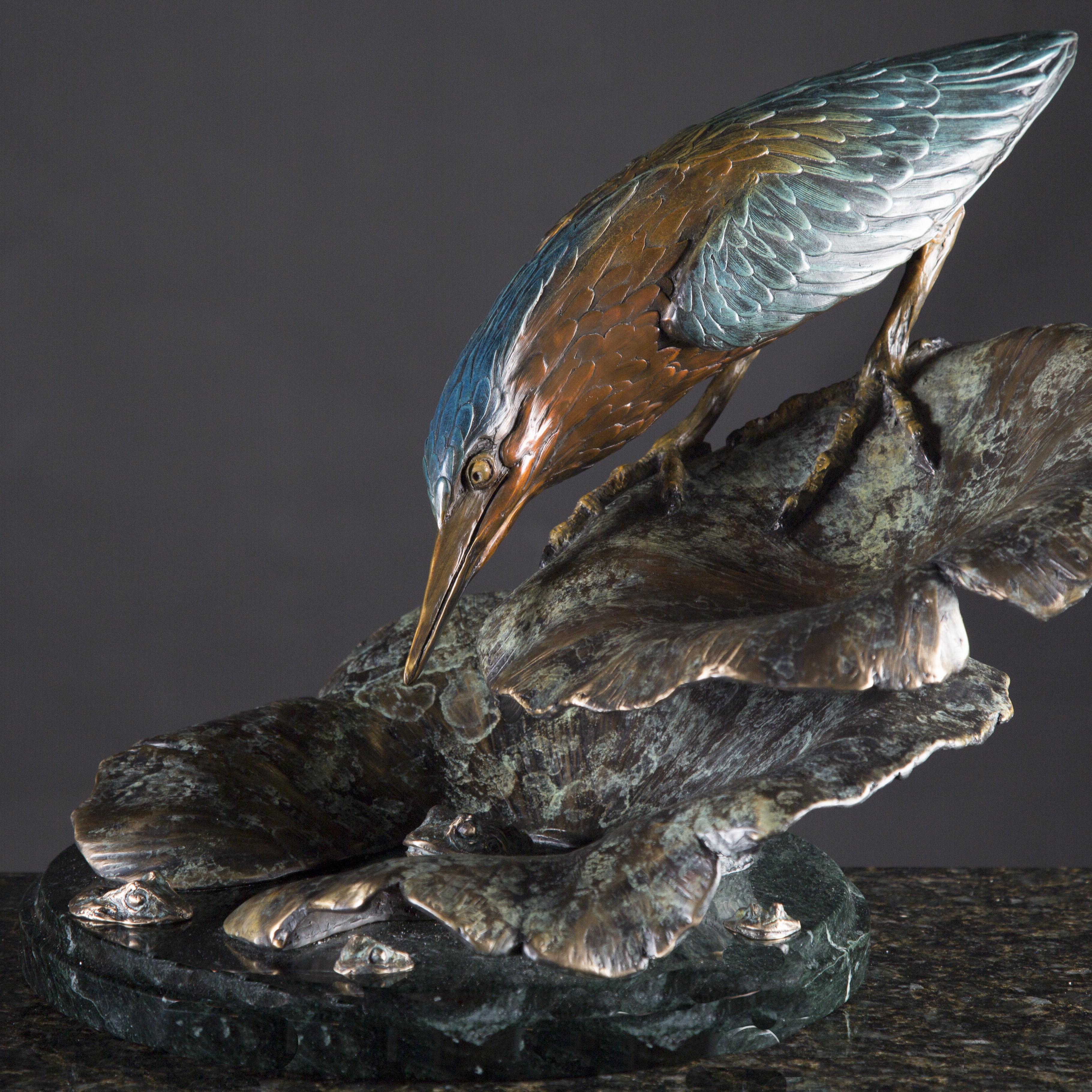 Green Heron on Lotus bronze sculpture