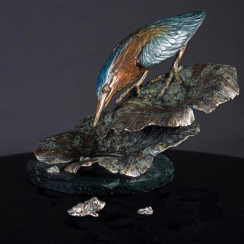 Sweetwater Heron on Lotus (Green Heron)