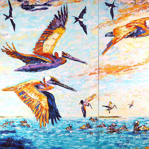 Mullet Run St. Lucie Inlet (Diptych)