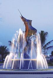 19 foot Bronze Sculpture titled The Stuart Sailfish by Artist Geoffrey C. Smith, located in Stuart, Florida.