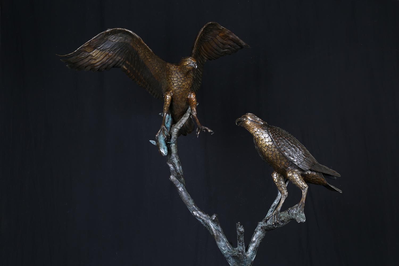 The Osprey Pair Sculpture by Geoffrey C.