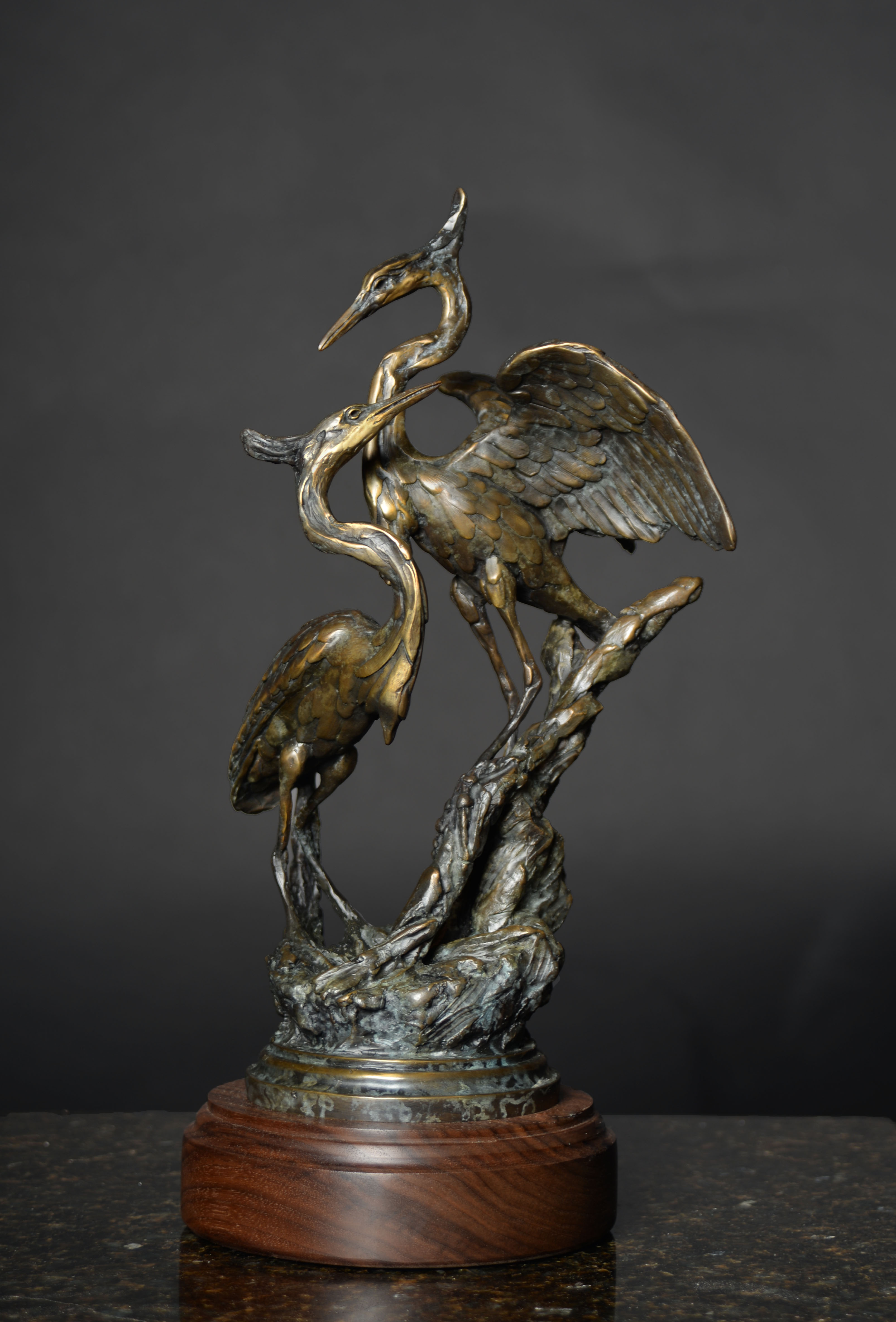 Great Blue Heron Duet Maquette in Traditional Patina