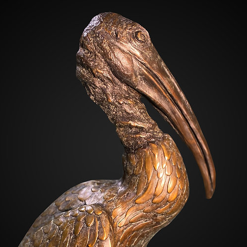 Wood Stork, Life-Sized Traditional Patina