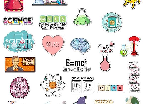50Pcs/Set Science Waterproof Stickers